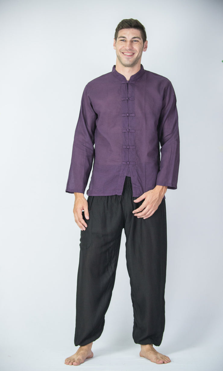 Mens Chinese Collar Yoga Shirt in Dark Purple