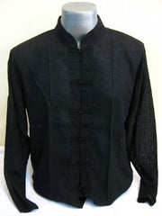 Mens Chinese Collar Yoga Shirt in Black