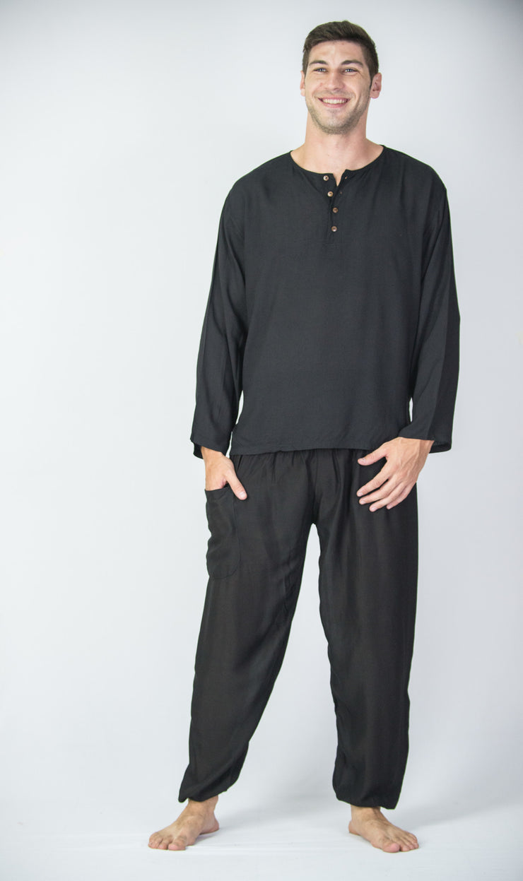 Mens Coconut Buttons Yoga Shirt in Black