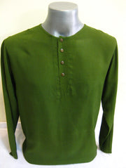 Mens Coconut Buttons Yoga Shirt in Olive
