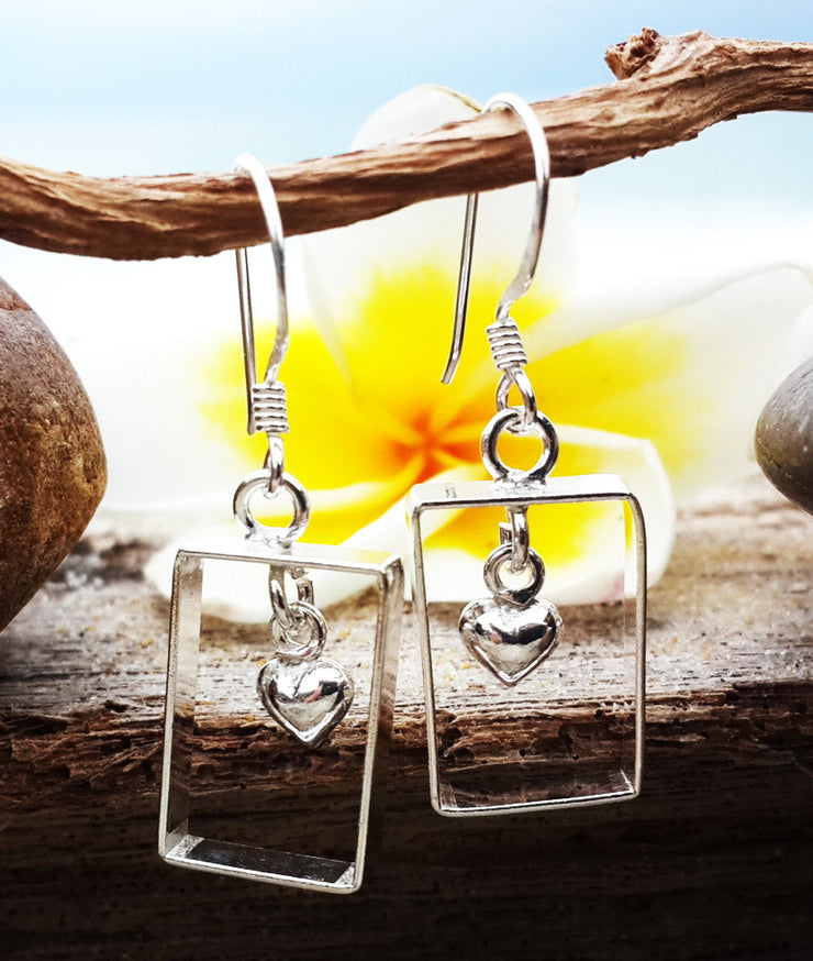 Rectangle Heart Sterling Silver Earrings