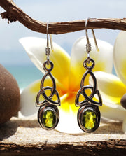 Trinity Sterling Silver Earrings with Peridot