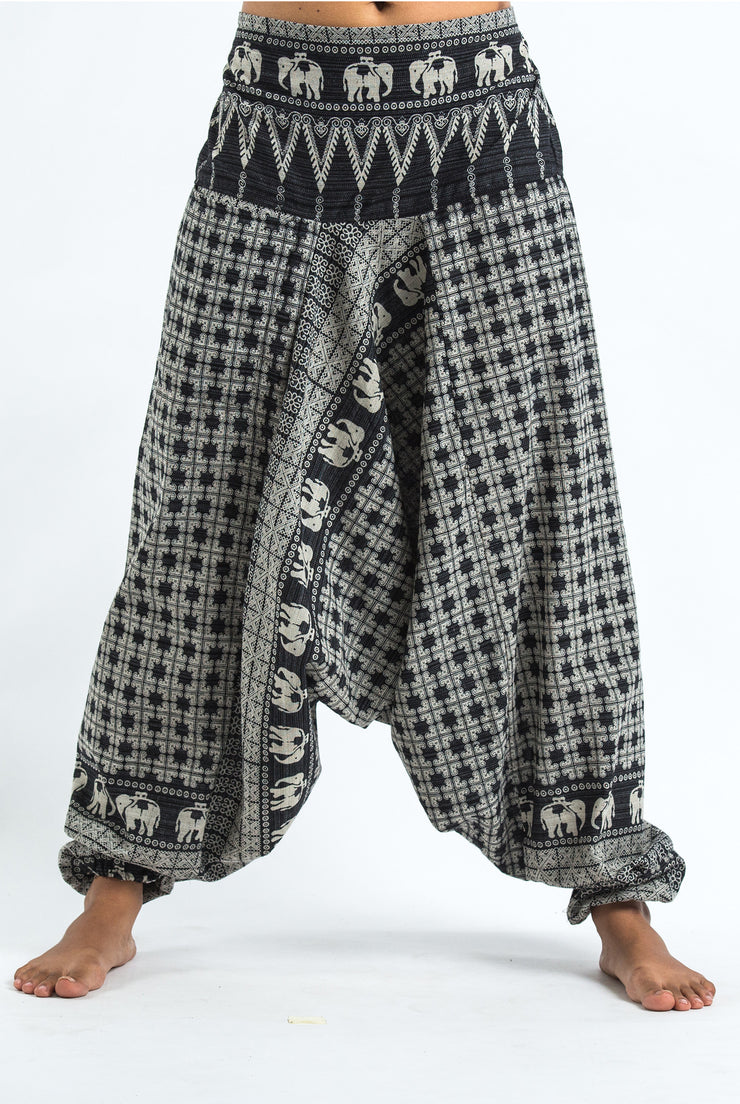 Unisex Hill Tribe Elephants Harem Pants in Black
