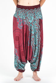 Unisex Geometric Mandalas Drop Crotch Jumpsuit Harem Pants in Red