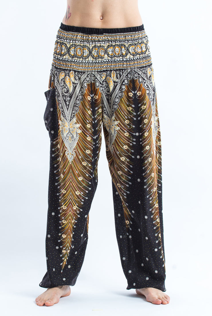 Unisex Peacock Feathers Harem Pants in Black
