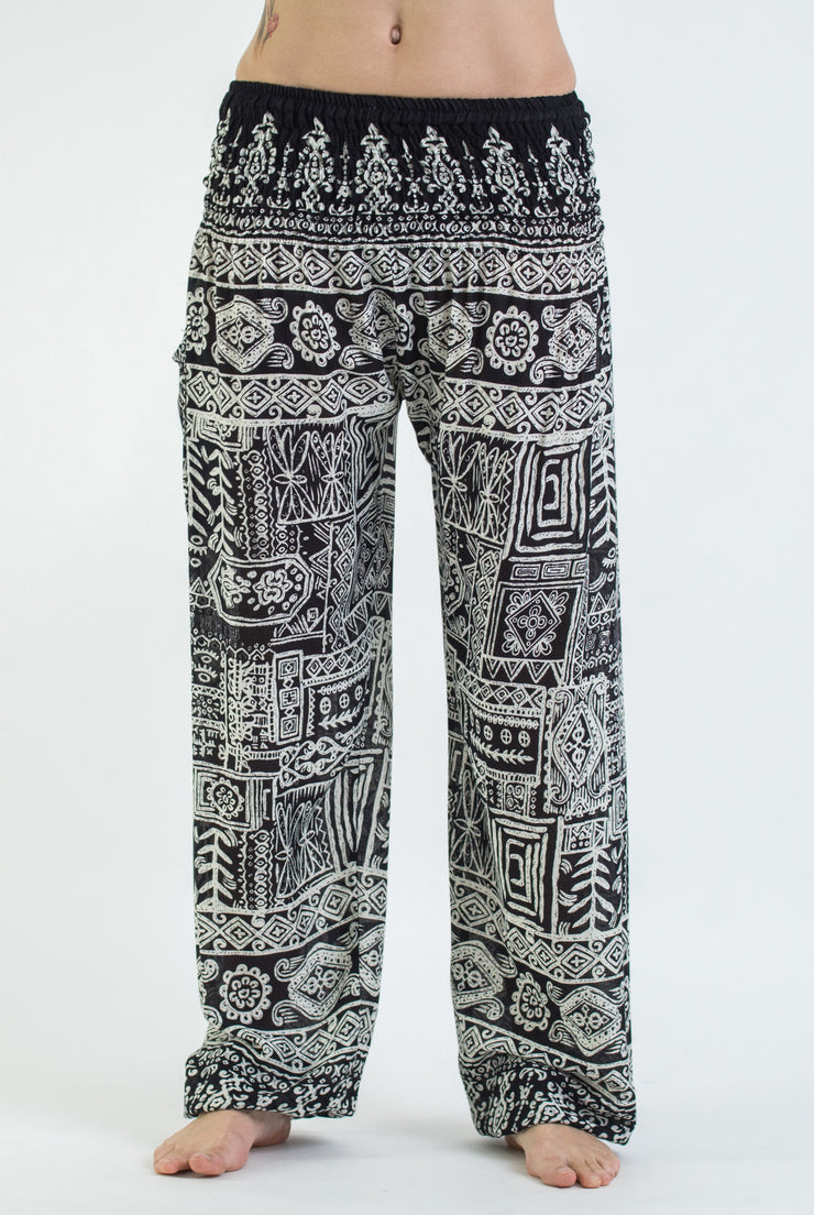Unisex Tribal Prints Harem Pants in Black