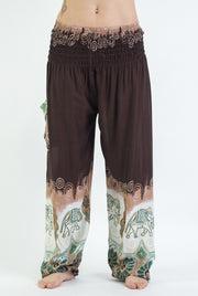 Unisex Solid Top Elephant Harem Pants in Brown
