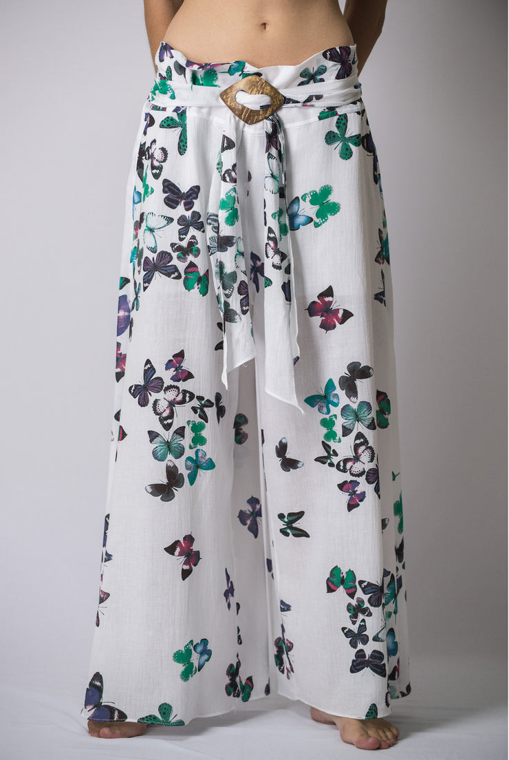 Womens Butterfly Palazzo Pants in Turquoise