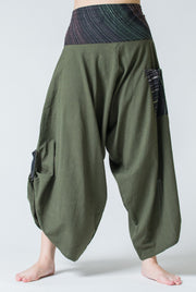 Unisex Button Up Cotton Pants with Hill Tribe Trim in Olive