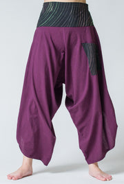 Unisex Button Up Cotton Pants with Hill Tribe Trim in Purple