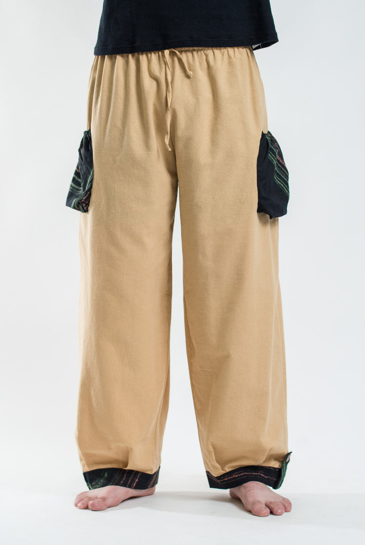 Unisex Drawstring Cotton Pants with Hill Tribe Trim in Cream