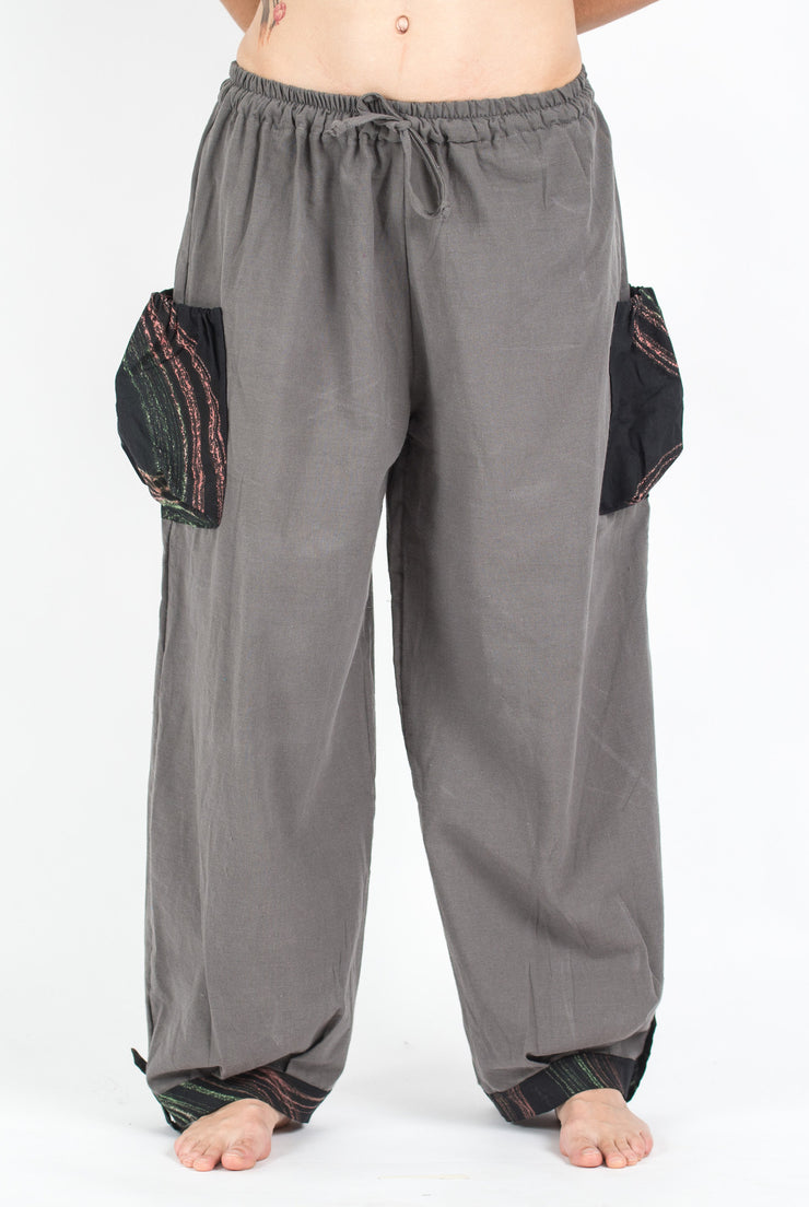 Unisex Drawstring Cotton Pants with Hill Tribe Trim in Gray
