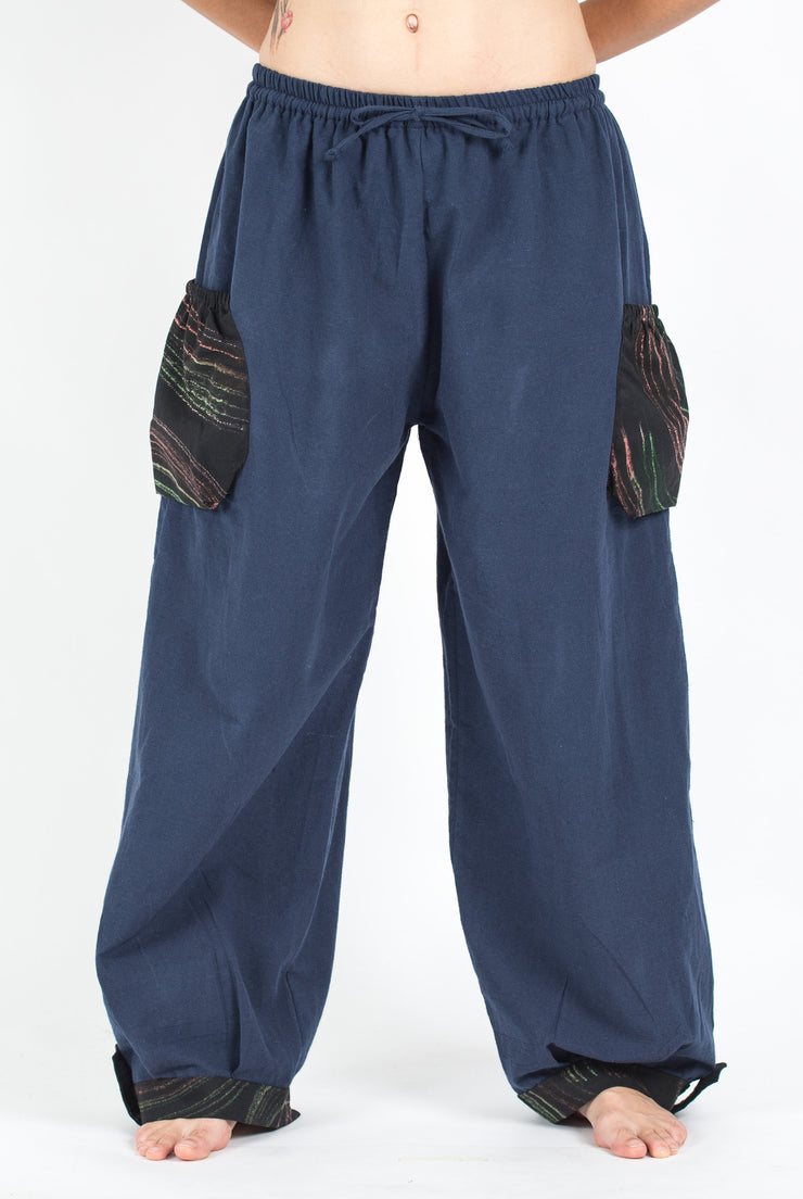 Unisex Drawstring Cotton Pants with Hill Tribe Trim in Blue