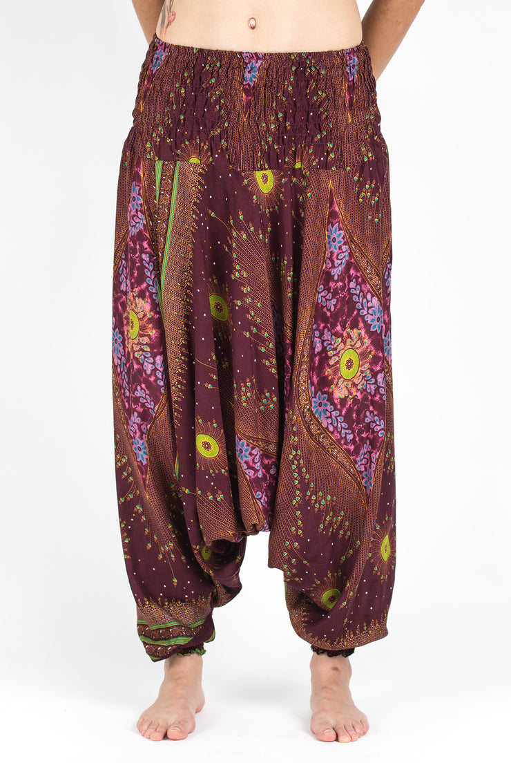 Unisex Peacock Eye Drop Crotch Jumpsuit Harem Pants in Wine