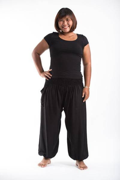 Plus Size Unisex Solid Color Harem Pants in Black