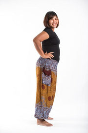 Plus Size Unisex Geometric Mandalas Harem Pants in Bronze