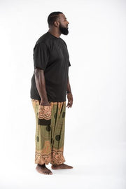 Plus Size Unisex Geometric Mandalas Harem Pants in Olive