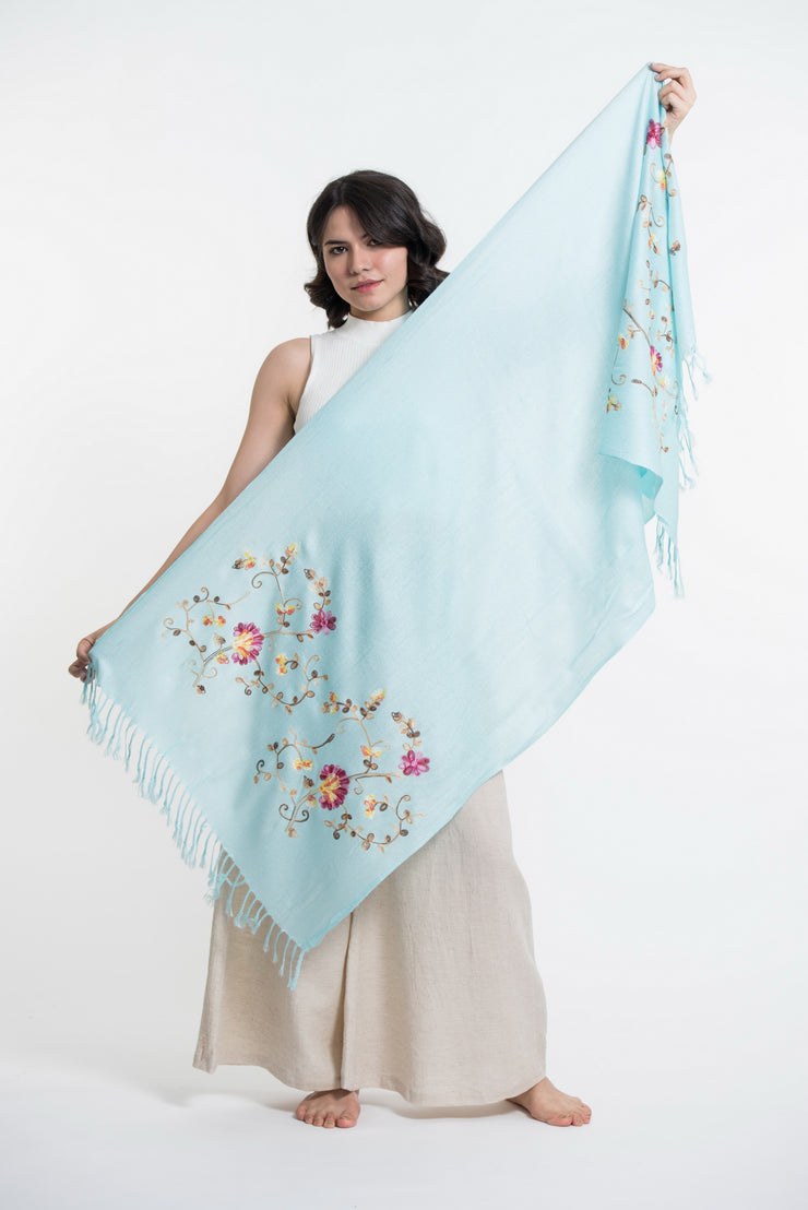 Nepal Floral Embroidered Pashmina Shawl Scarf in Blue