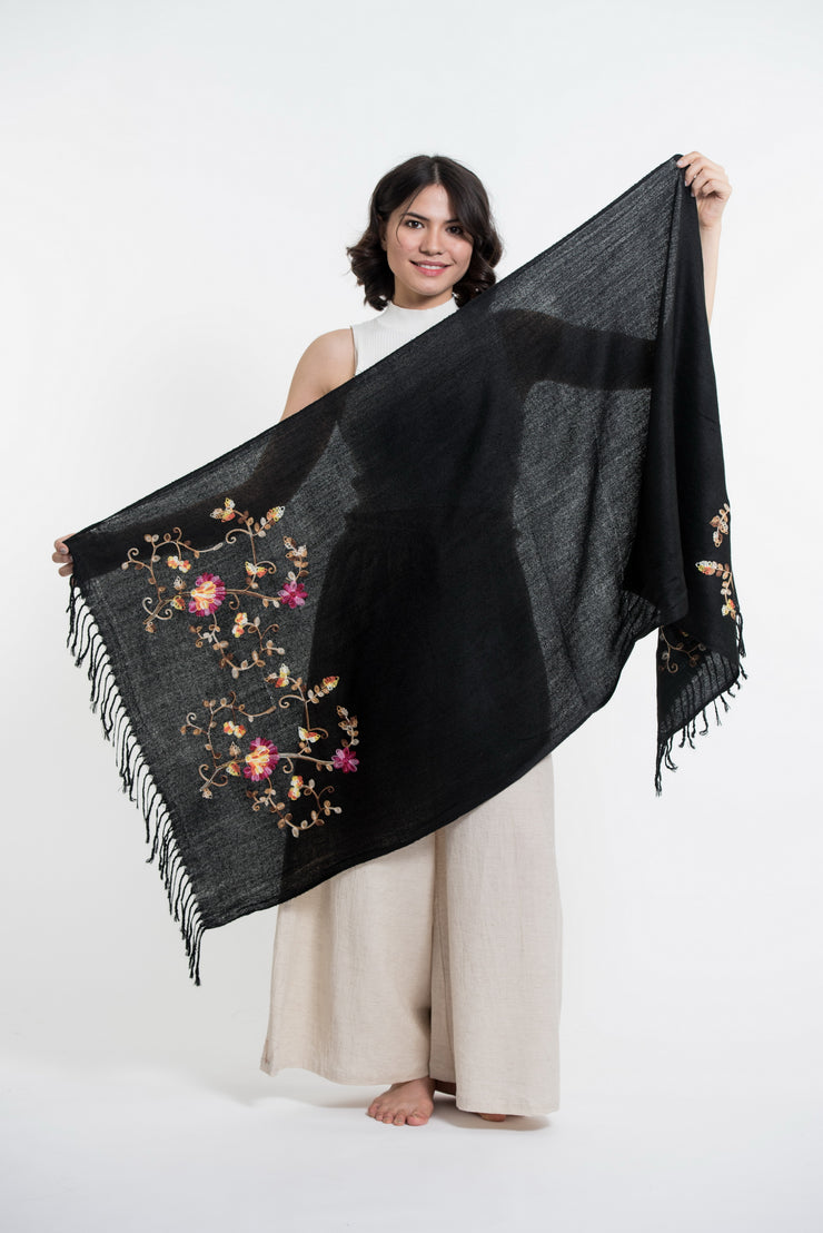 Nepal Floral Embroidered Pashmina Shawl Scarf in Black