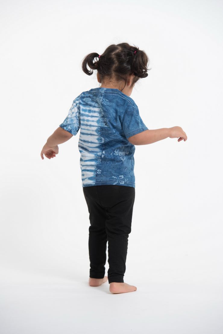 Kids Half Stripes Indigo Tie Dye T-Shirt