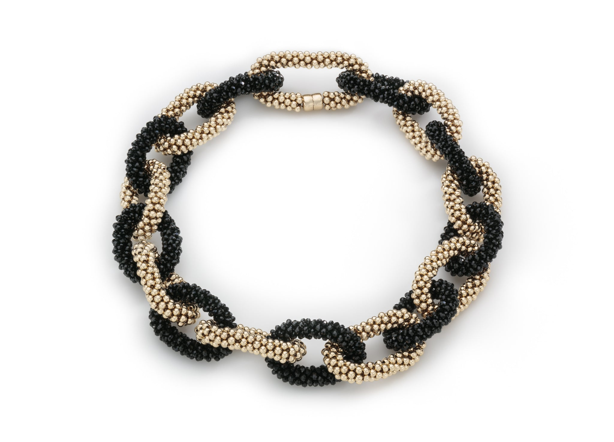 A Black Crystal and Gold Linkable Necklace
