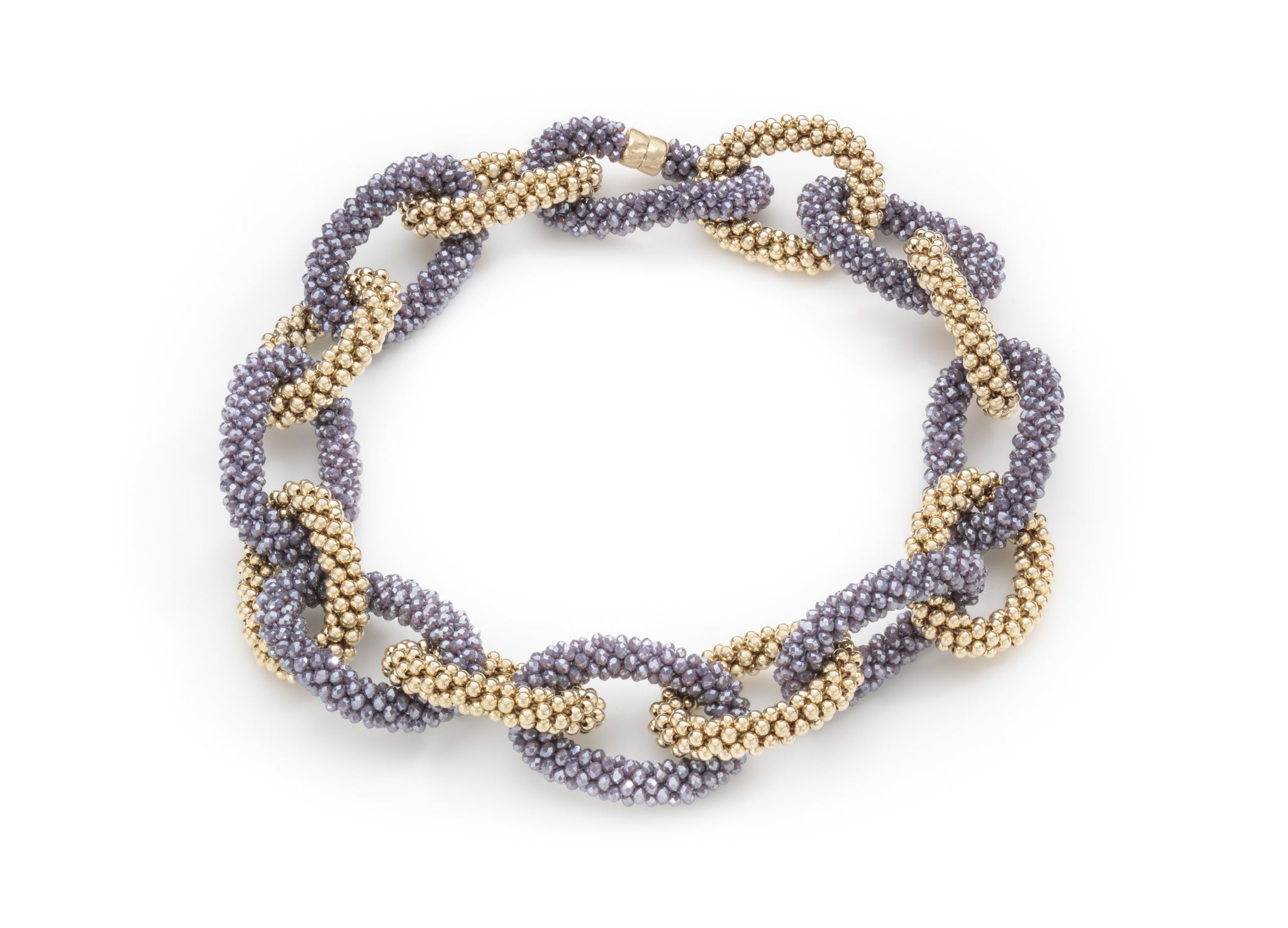 A Lavender Crystal and Gold Linkable Necklace
