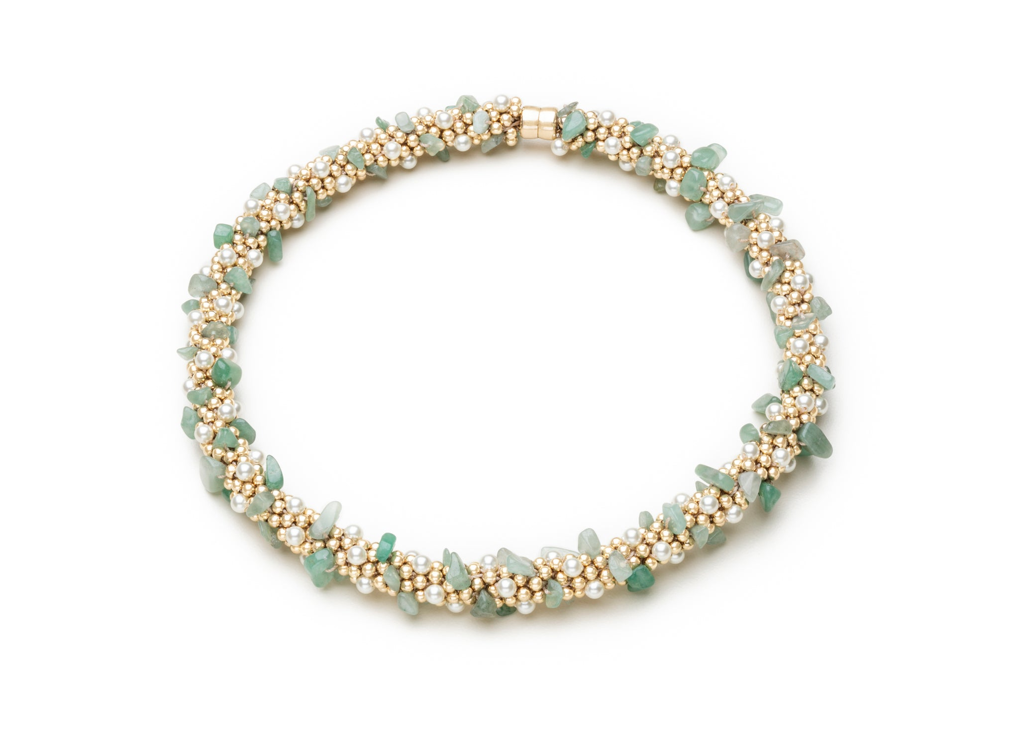 A Pearl, Aventurine and Gold Necklace
