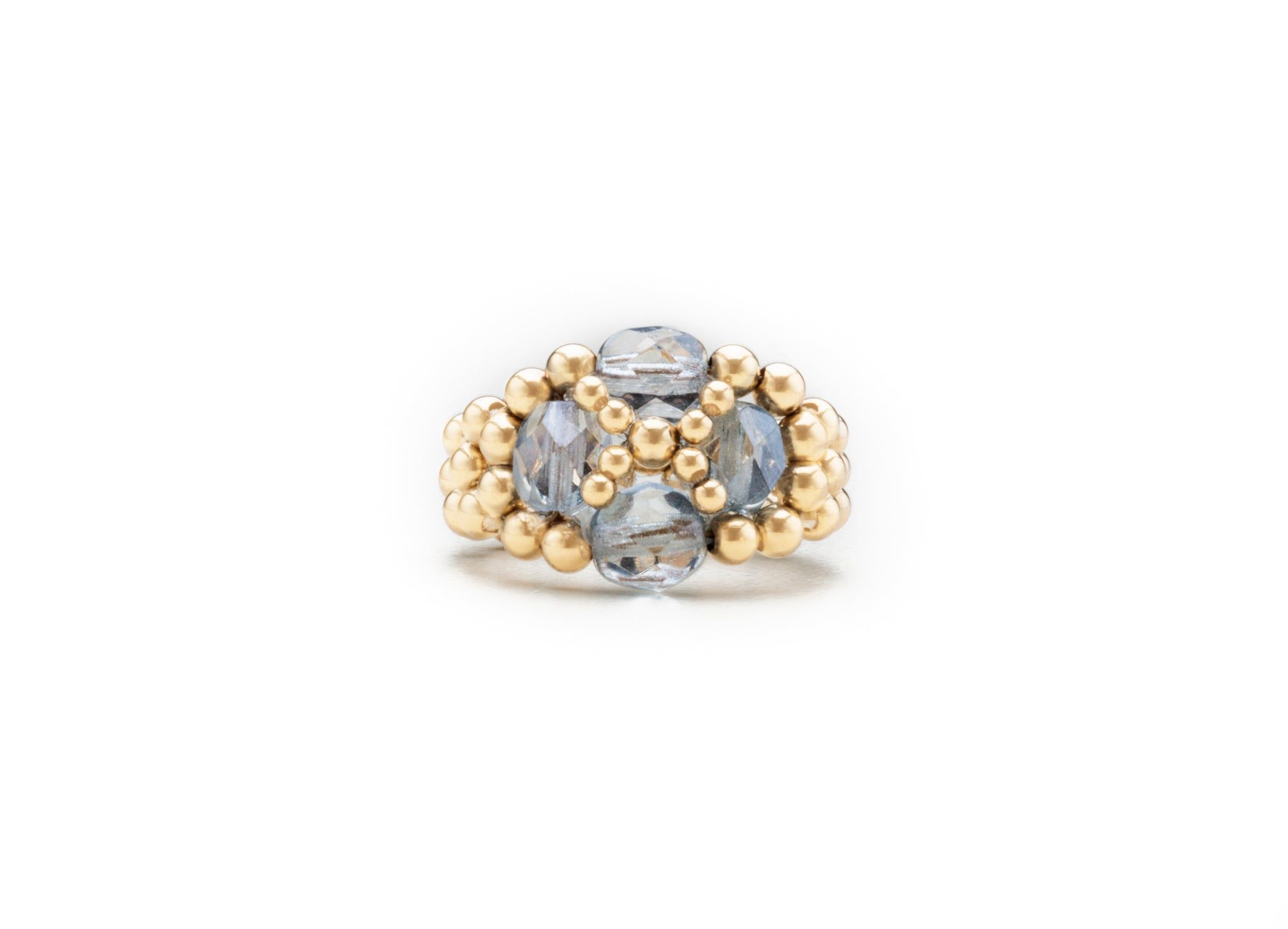 Czech Glass Floret Rings, Gold