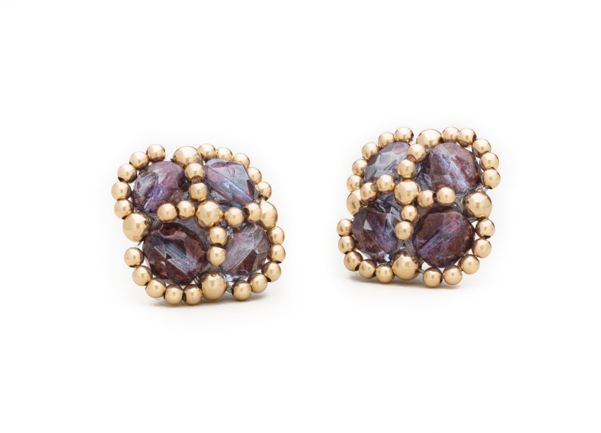 Enhanced Clover Studs, Czech Glass and Gold (Click to View All Colors)