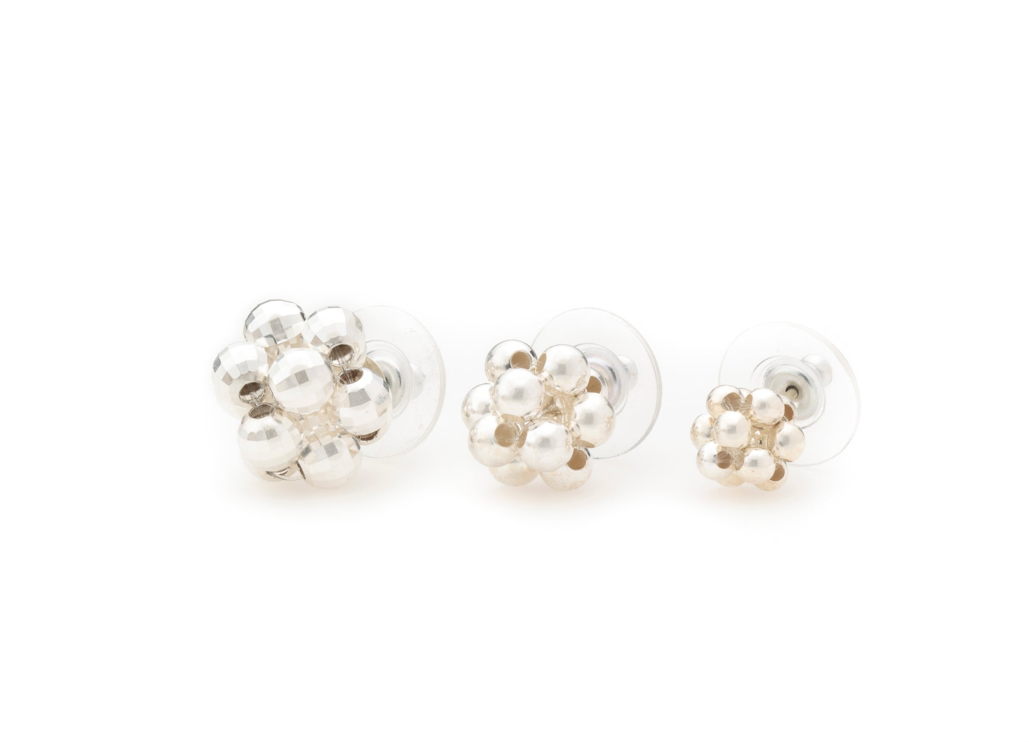 Cluster Studs, Silver