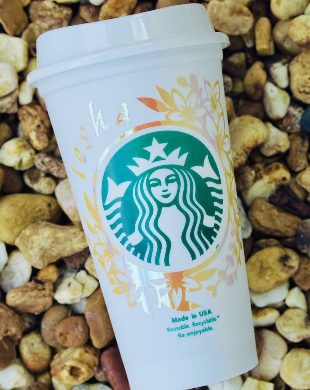 Hallographic Yellow Tone Starbuck Cup