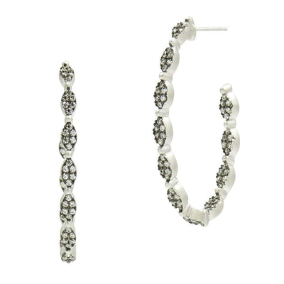 Image of Industrial Finish Allover Pave Hoop Earringsby Freida Rothman