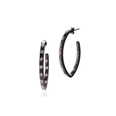 Image of Oval Studded Pointe Hoop Earrings