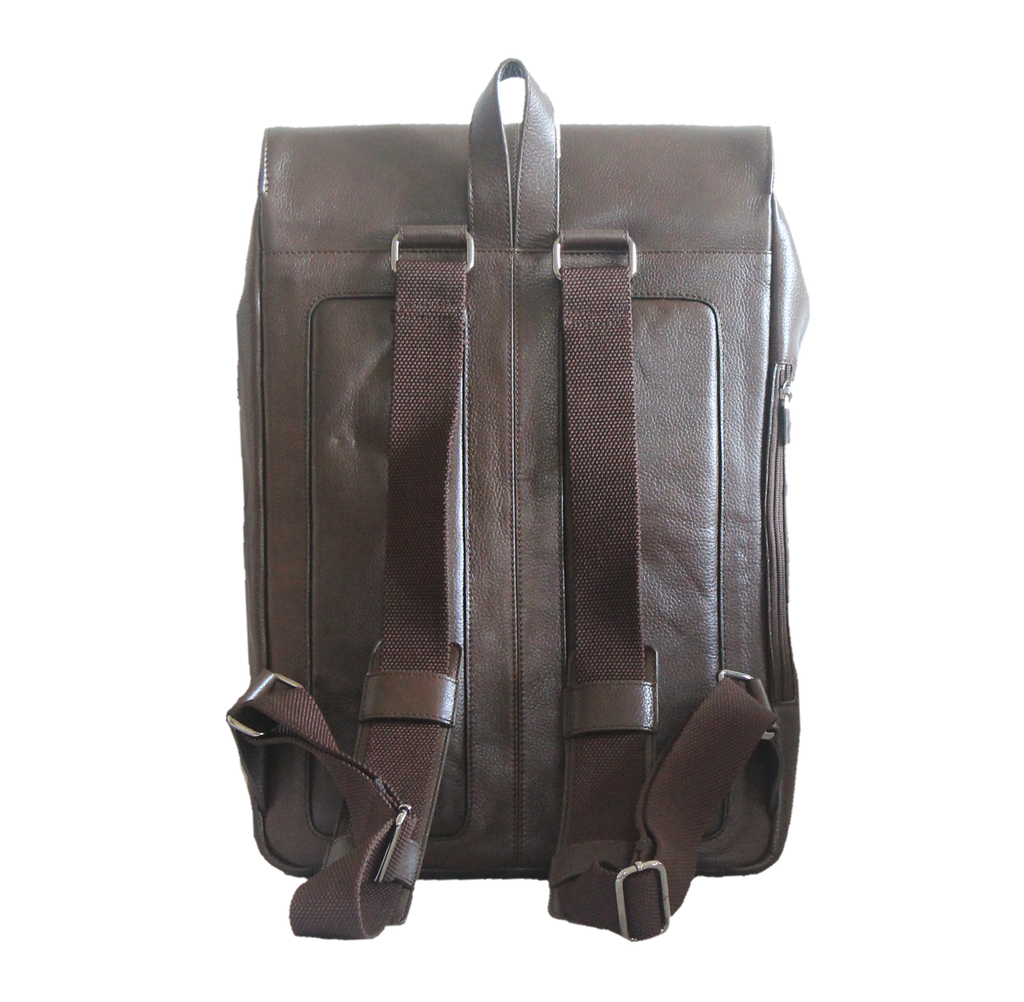 brown leather rucksack