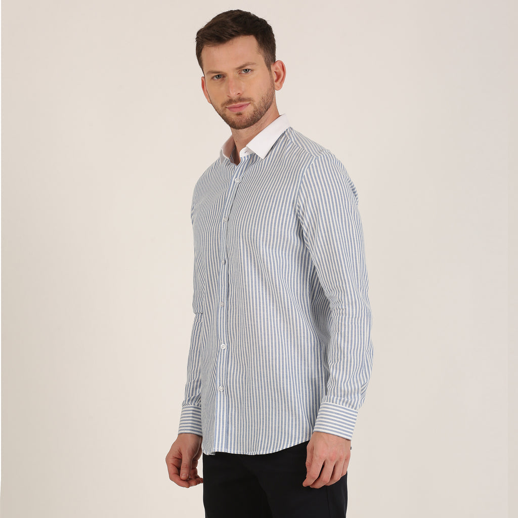 Blue Stripe Shirt with White Collar