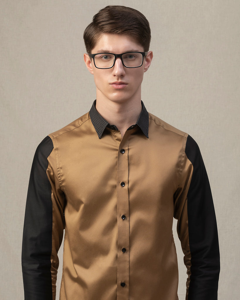 gold and black shirt with checks collar