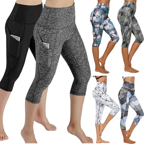 High Waist Women Yoga Pants with Pockets 4 Way Stretch Capri Leggings - Spocamp