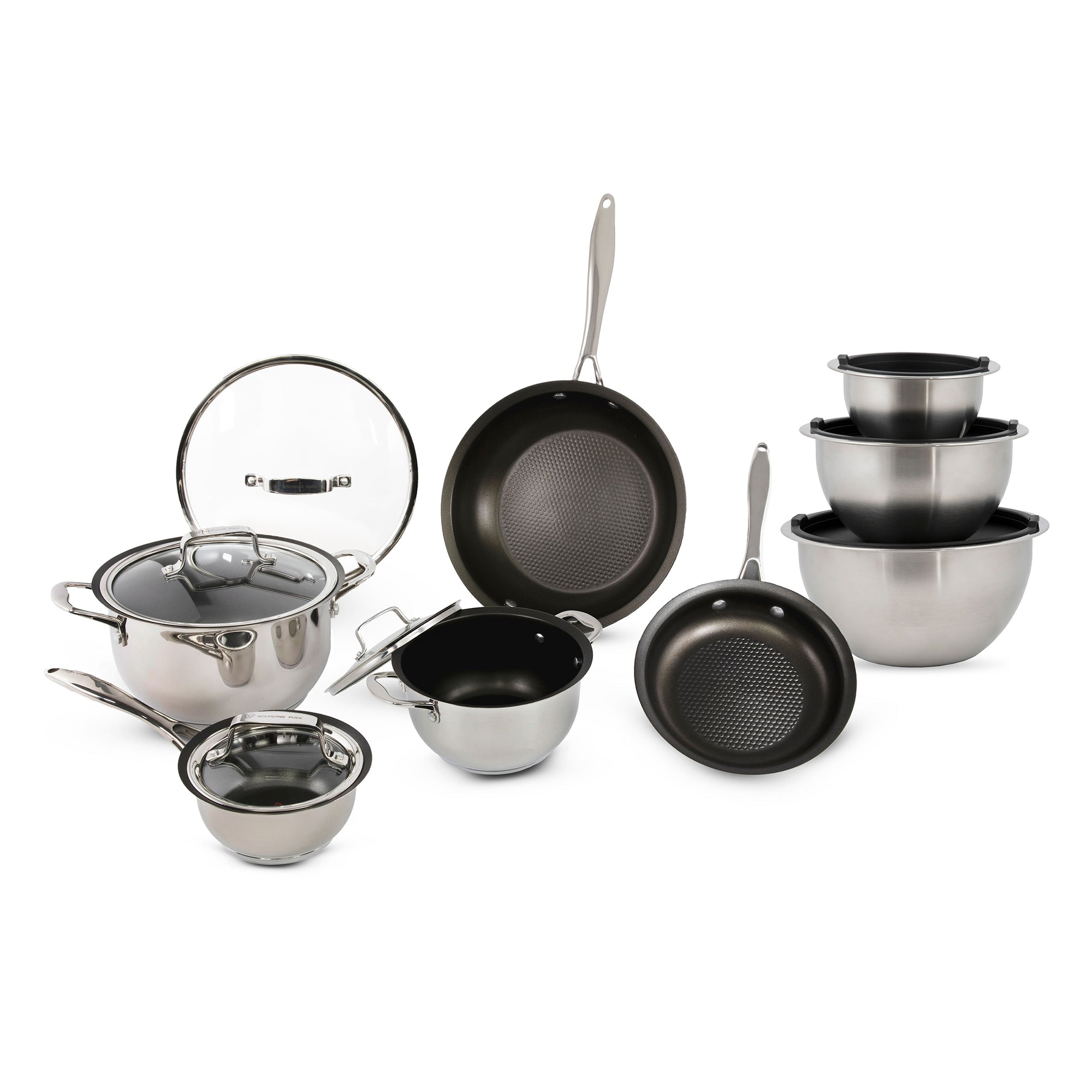 15-Piece Stainless Steel Cookware Set and Mixing Bowls
