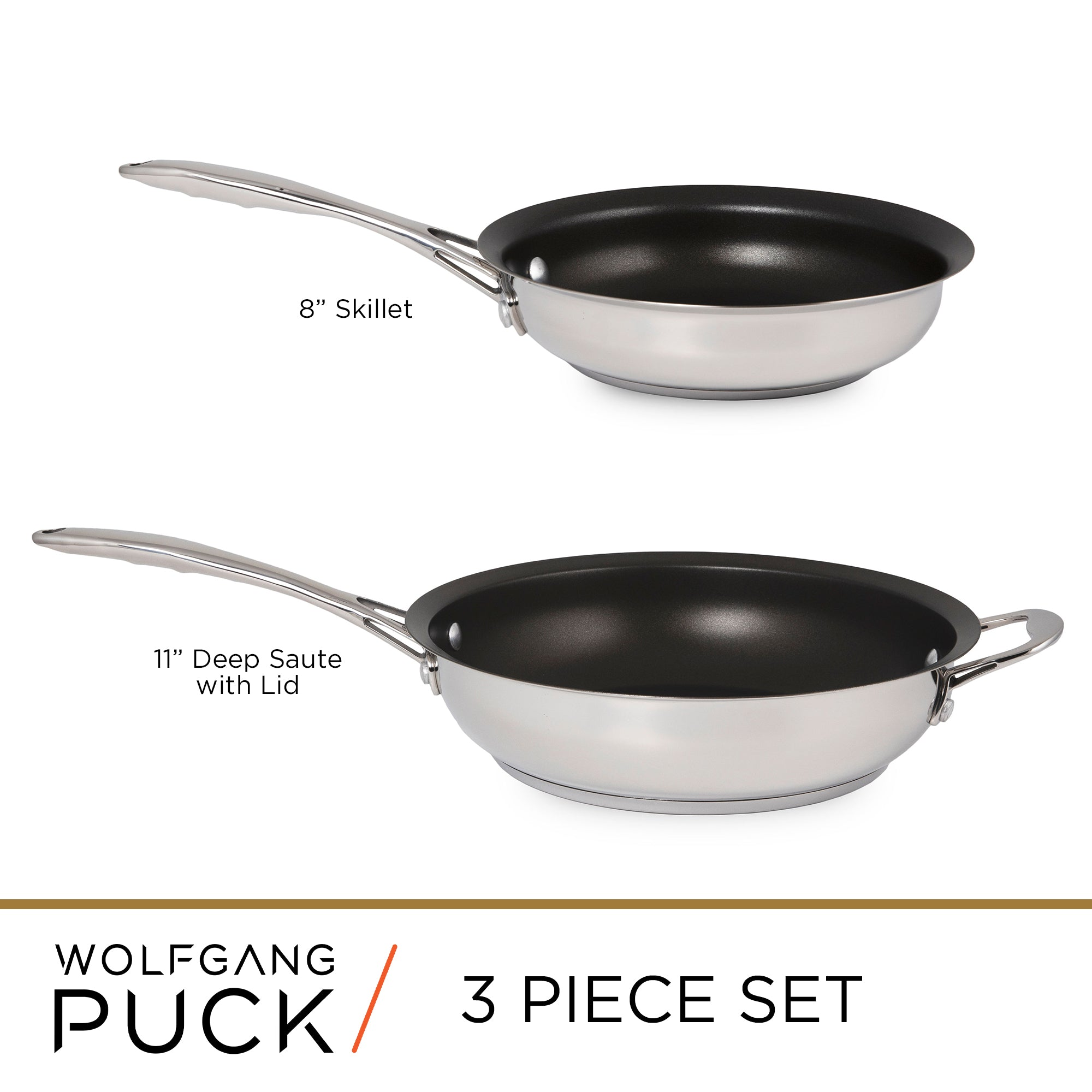 3-Piece Stainless Steel Skillet Set
