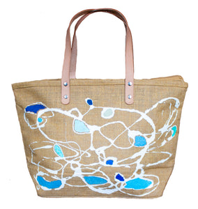 """Blue Waves"" Beach Tote - One of a Kind with Two Original Paintings by Serena Bocchino"