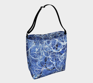 Blue Jazz Waves Cross-Body Day Tote