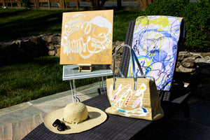 """Shell Song"" Beach Tote: One of a Kind with Two Original Paintings by Serena Bocchino"