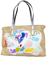 "Load image into Gallery viewer, ""Shell Song"" Beach Tote: One of a Kind with Two Original Paintings by Serena Bocchino"