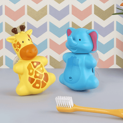 A giraffe (Left side) and an elephant (Right side) toothbrush cover in a pattern background