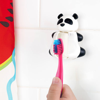 Keeping the toothbrush in the Panda toothbrush cover