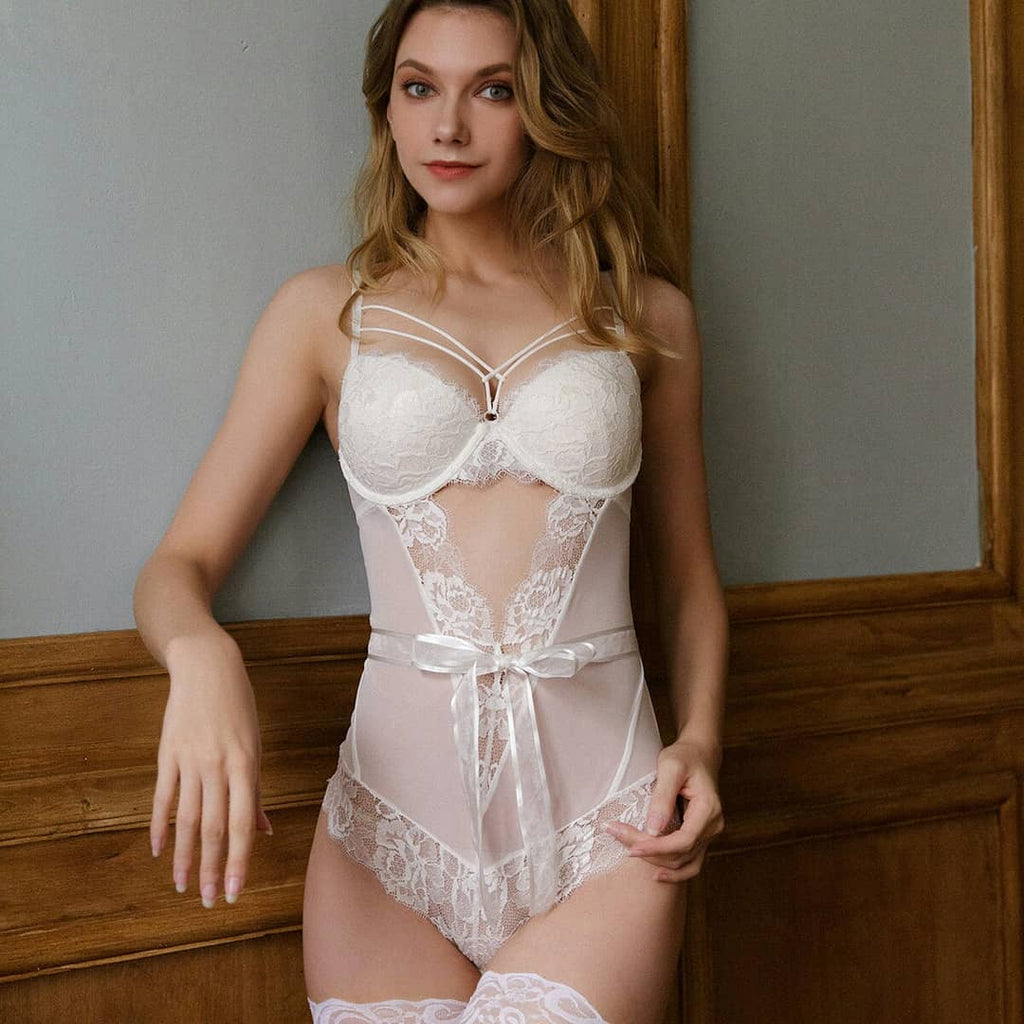 Alli collection one piece sheer with silk lace lingerie