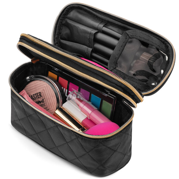 Ms. J Travel Makeup Bag | With Mirror and Travel-Sized Makeup Brushes