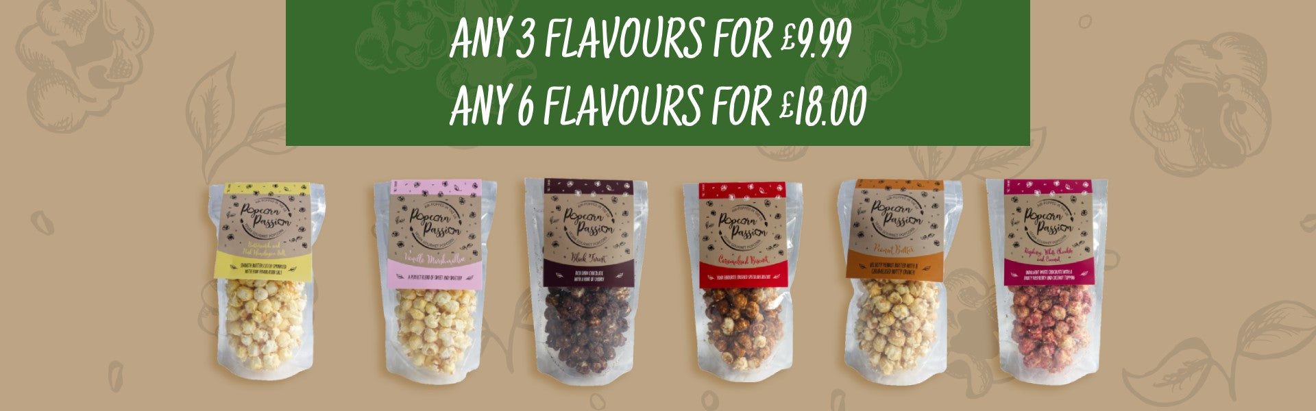 Popcorn passion mix and match banner showing all flavours of popcorn