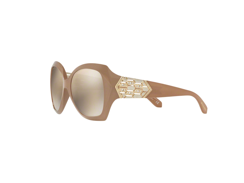Bvlgari Sunglass | Square Style Beige / Brown Mirrored BV8182B 11215A 55MM