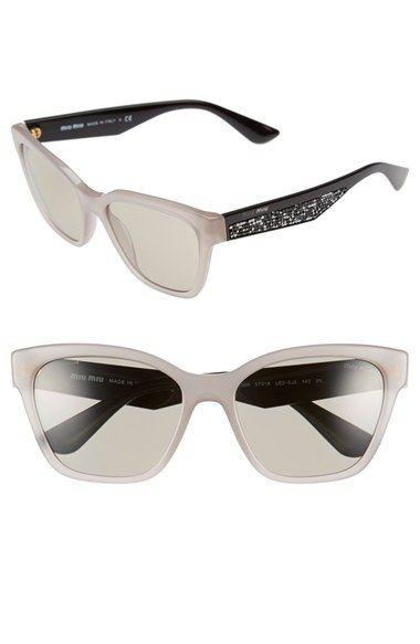 Miu Miu Sunglass | Cat Eye Style Opal Argil / Light Brown MU06RS UE25J2